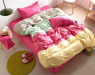 撞色粉-撞色四拼單人床包被套三件組