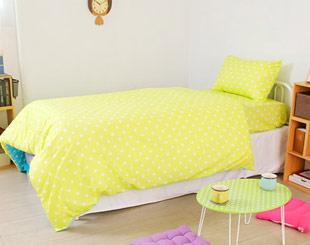 繽紛黃-圓點床包組