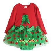 紅色綠與紅的搶眼搭配經典不退流行的 漂亮造型紗紗裙