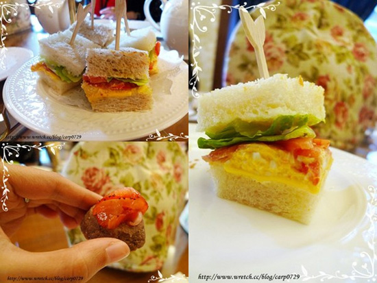 三明治是很經典的蛋沙拉口味,手工餅乾也很香脆,搭著草苺片一起吃更是絕配。