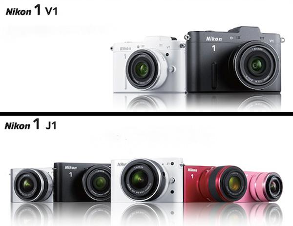 V1目前只有黑/白兩色,J1則ㄧ次就推出了黑/白/銀/紅/粉紅五種顏色,而且J1重量較輕,感覺得到Nikon想要以J1搶攻女性市場的野心。