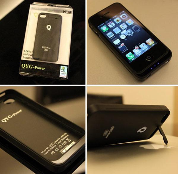 專為I phone 4設計的超薄保護殼式外接電池,採用上下兩截的滑套式設計,讓電池跟手機本體可以緊密結合,輕量好攜帶。