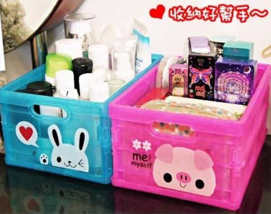 迷你版★果凍色輕巧折疊收納箱[5入]~超可愛摺疊收納