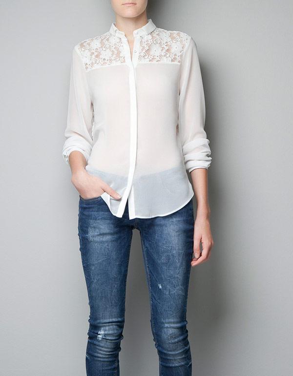 歐美風蕾絲拼接式雪纺襯衫