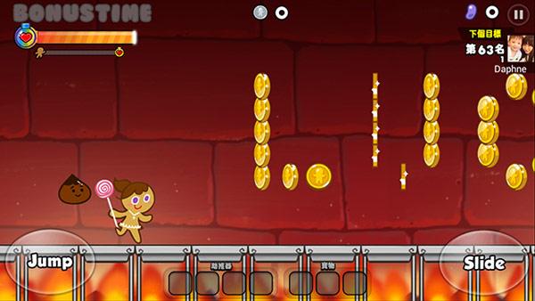 ▲跑跑薑餅人是一款「酷跑」遊戲,主角會自動向前衝,玩家要即時控制跳躍或滑行,跨越障礙吃錢幣(圖/手機截圖)