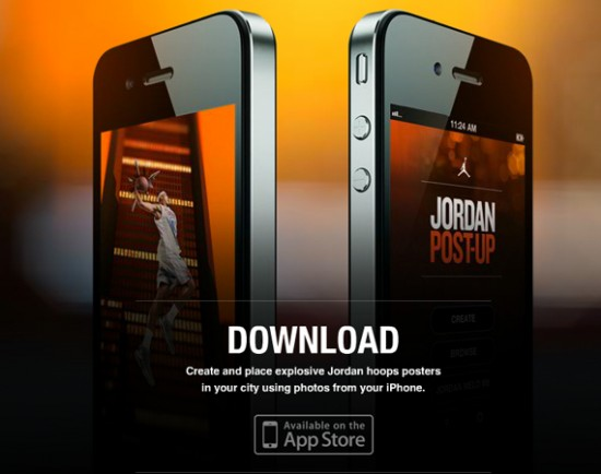 apple×Jordan Brand 合作推出的免費app「Jordan Post-Up」 ,可以輕鬆將球員英姿合成到自己拍攝的圖片上。