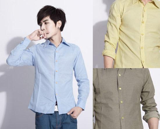 窄版素面木釦長袖襯衫 9色