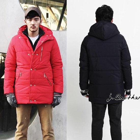 厚鋪棉長版雙排扣外套