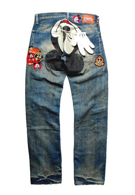 CLOT Disney Mickey Mouse Patch Denim 米奇圖騰拼布牛仔褲