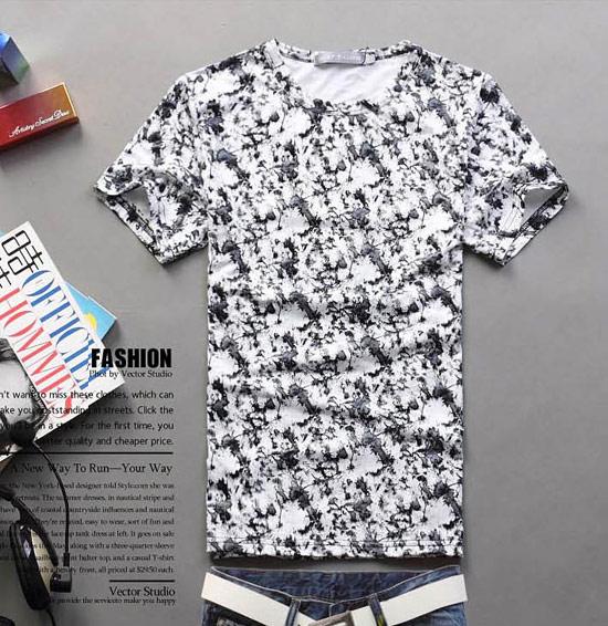 印花紡棉圓領短袖T恤