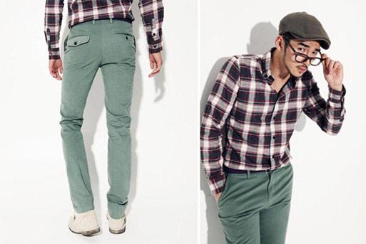粉綠色棉質西裝長褲