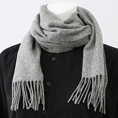 【MUJI無印良品】羊毛織花圍巾深灰