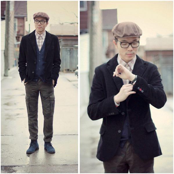 素人穿搭,紳士帽,黑色西裝外套,毛呢西裝外套,跨年派對穿著