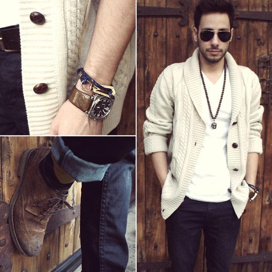 素色圍巾領開襟衫,米白色針織,針織毛衣,圍巾領針織毛衣,毛衣穿搭