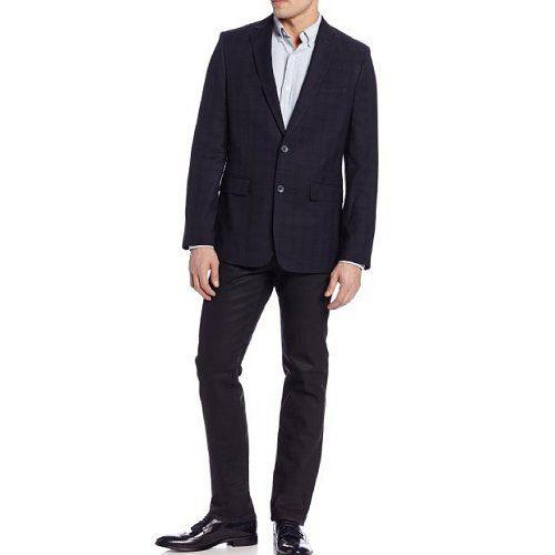▲Calvin Klein 時尚深藍色調格紋休閒西裝外套
