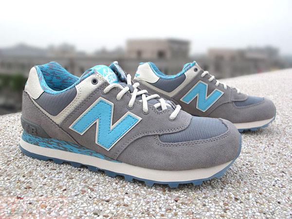 ▲NEW BALANCE 574 復古慢跑鞋 海洋風 波浪 灰水藍 有附水藍鞋帶 男款