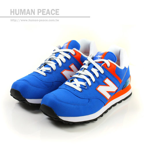 ▲NEW BALANCE 574系列 網布 皮革 舒適 柔軟 運動鞋 戶外休閒鞋 藍/橘 男款