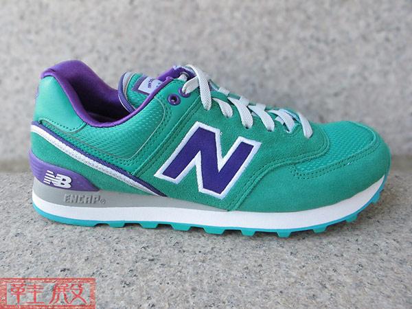▲NEW BALANCE 574 復古慢跑鞋 棒球外套系列 刺繡 緞布 湖水綠紫 女款