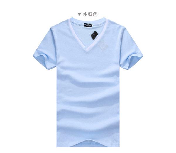 ▲T恤ManStyle潮流嚴選V領素面素色雙色領短袖T恤