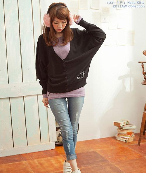 【KILARA】外搭推薦 Kitty寬版連袖針織外套(黑、紫、紅三色)