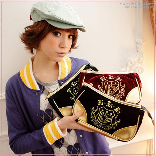 【KILARA】華麗學院 Kitty質感絨布金色皮革手拿包