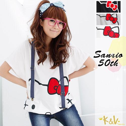 【KILARA】-50th-眨眼Kitty寬版方形綁繩上衣(3色)
