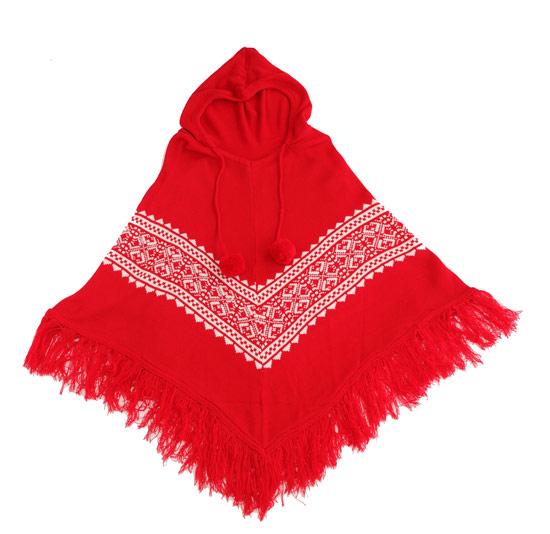 聖誕節氣氛濃厚的紅底雪花圖樣,是活潑可愛的小紅帽女孩。
