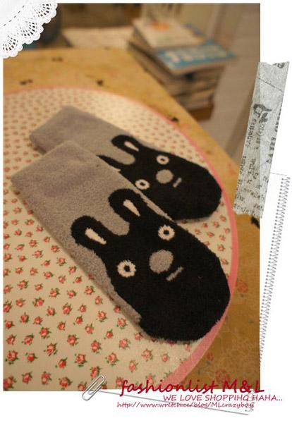 E.Ya厚版柔毛動物兔兔保暖襪 -黑灰兔