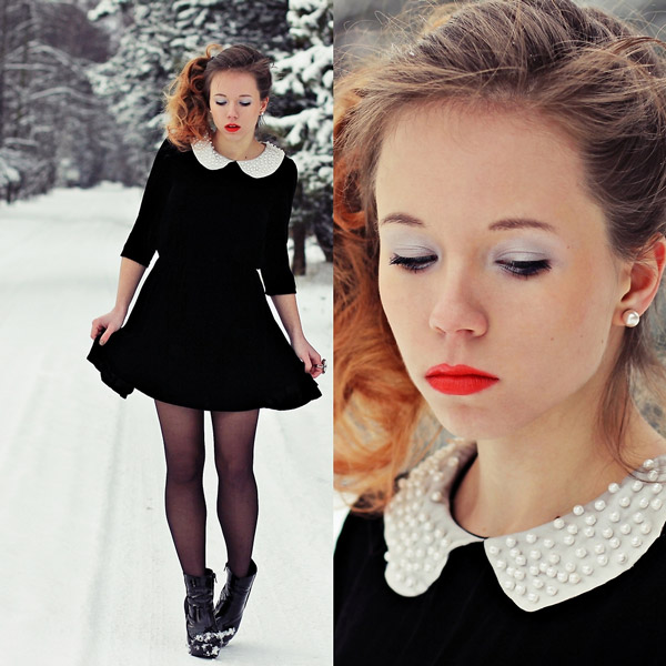 黑色傘狀洋裝搭配紅唇帶點復古感,簡單搭配褲襪跟短靴就很有型