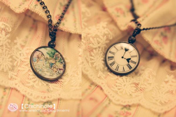 愛麗絲夢遊仙境兔子懷錶項鍊