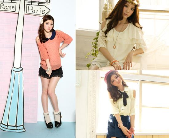 東京著衣,流行女裝,挖肩,雪紡紗,日系