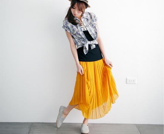 雪紡紗,長裙,亮色,裙子,女裝