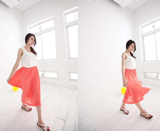 雪紡紗,長裙,亮色,裙子