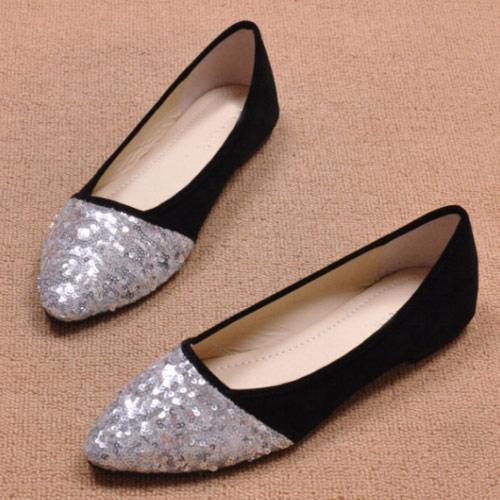 日系,金屬,銀色,亮片,平底鞋