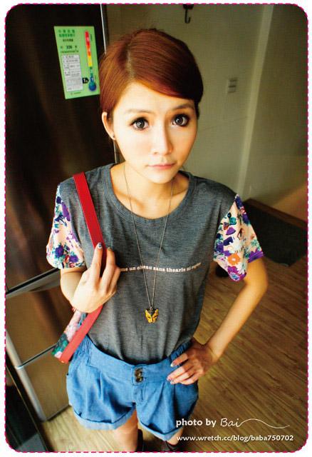 花朵短袖棉T,韓系復古小花內搭褲,牛仔長袖襯衫,印花短袖棉T,馬鞍包