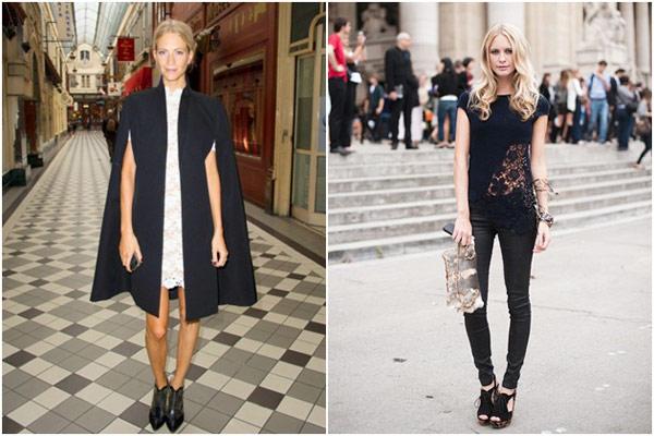 黑色蕾絲,黑色蕾絲小洋裝,鮮豔蕾絲洋裝,派對穿搭,透肌感,Miranda Kerr