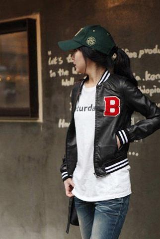 韓系素色徽章收腰短款長袖外套