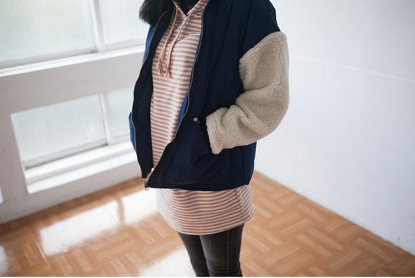 STARMIMI 兩件式毛袖棒球外套+格子背心