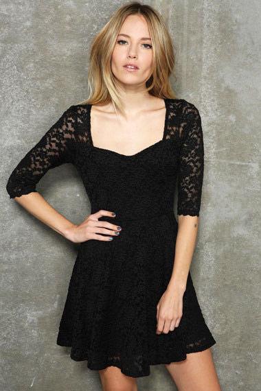 ▲ibella歐美風熱銷蕾絲五分袖洋裝