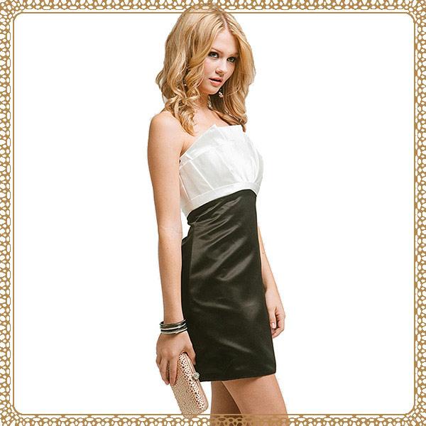▲『摩達客』美國進口Landmark無肩帶花朵黑白優雅派對小禮服