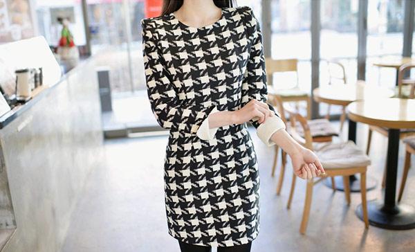 ▲STYLEON!OL粉領族。韓國時尚。黑白時尚美人洋裝