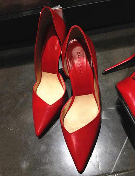 ▲mo.oh (歐美鞋款) 紅色真皮尖頭高跟鞋