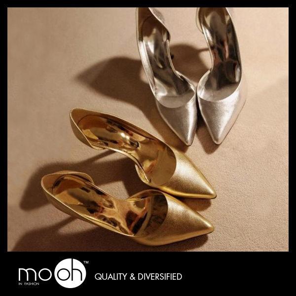 mo.oh (韓國鞋款) 韓國金屬色亮面鏤空細跟氣質淺口顯瘦羊皮跟鞋