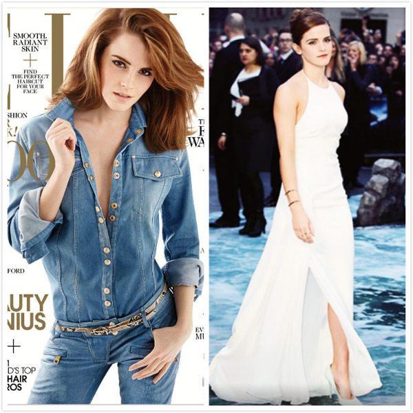 圖左:美國版的《ELLE》雜誌4月號刊,以艾瑪‧華森為封面人物。圖右:於柏林舉辦的《挪亞方舟》電影首映(圖/擷自艾瑪‧華森官方粉絲團)