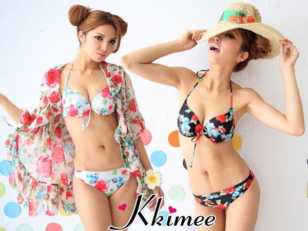 ▲KKimee╭*日版比基尼+外套深V玫瑰碎花朵圖案三件式泳衣 bikini