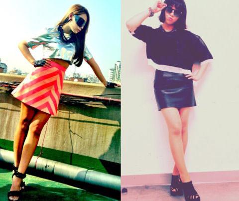 ▲不同材質的短版上衣搭配裙裝都能有不同韻味,2NE1隊長CL這身打扮以銀色系短版上衣搭配超亮色系高腰裙看起來相當前衛;同是2NE1成員的Minzy則以黑色系作為搭配,帶出女孩們若隱若現的小性感。(左圖/取自CL個人Instagram;右圖/取自Minzy個人Instagram)