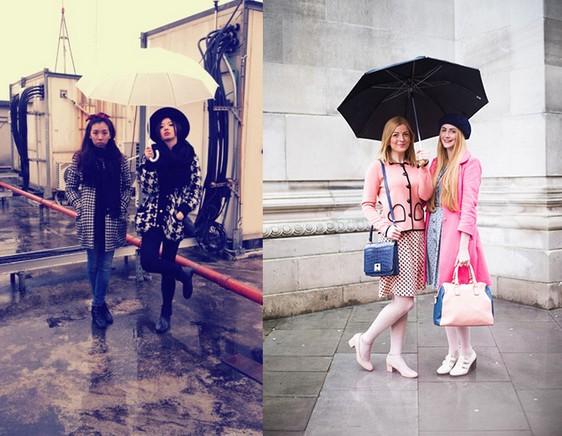 雨天穿搭雨鞋雨傘好有型