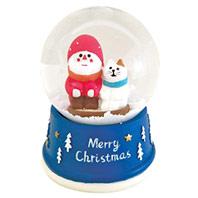 銀白聖誕雪花紛飛水晶球