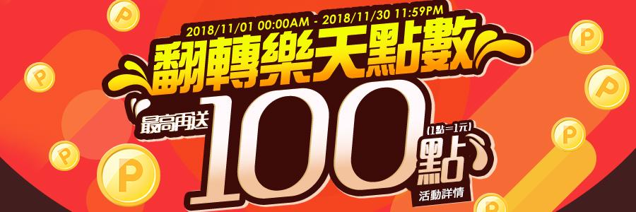 11月翻轉樂天點數最高再送100點