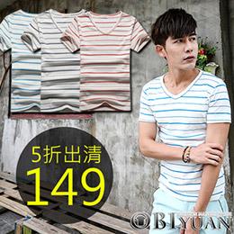 韓版簡約單色條紋彈力短袖棉T